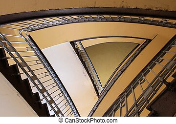 Bytom, Silesia region in Poland. Old beautiful architecture - triangular staircase in a townhouse.