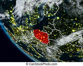 Poland at night from space