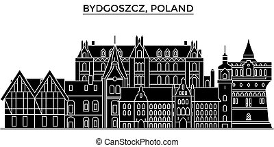 Poland, Bydgoszcz architecture vector city skyline, travel cityscape with landmarks, buildings, isolated sights on background
