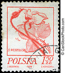 POLAND - CIRCA 1968: A stamp is printed in Poland, flower,...