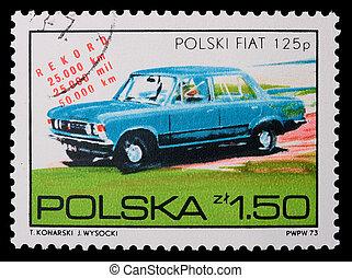 Poland - CIRCA 1973: A stamp - Fiat - Poland - CIRCA 1973: A...
