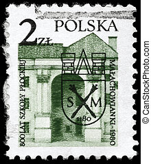 POLAND - CIRCA 1980: A Stamp printed in POLAND shows the image of a Malachowski Lyceum (oldest school in Plock), 800th anniversary, circa 1980