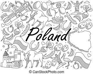 Poland coloring book vector illustration - Vector line art...
