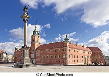 poland., column., 王, 広場, ワルシャワ, sigismund, 城, 光景