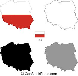 Poland country black silhouette and with flag on background