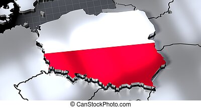 Poland - country borders and flag - 3D illustration