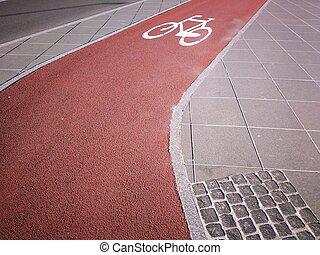 Cycling path in the city - Katowice, Poland. Bike lane.