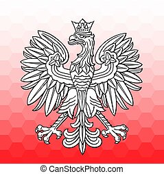 Poland eagle over white red mosaic