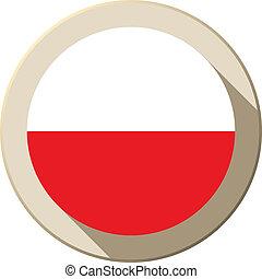 Poland Flag Button Icon Modern