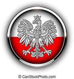 Poland flag button with eagle, 3d shiny vector icon