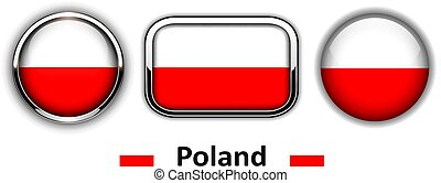 Poland flag buttons, 3d shiny vector icons.