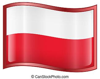Poland Flag Icon, isolated on white background.