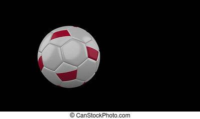 Poland flag on flying soccer ball on transparent background, alpha channel