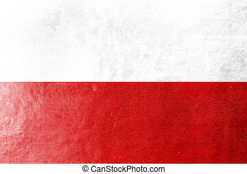 Poland Flag on leather texture