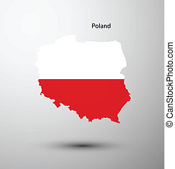 Poland flag on map of country