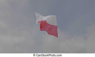 Poland flag on the flagpole waving in the wind against a...