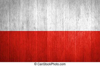 Poland Flag on wood background