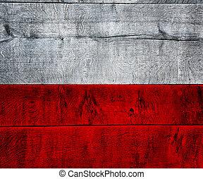 Poland Flag on Wood