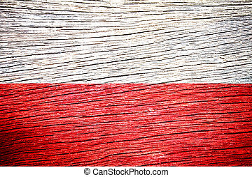 Poland Flag painted on old wood background