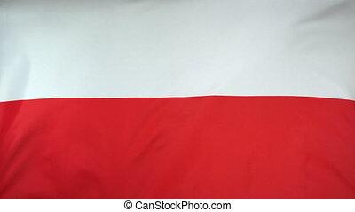 Poland Flag real fabric Close up - Textile flag of Poland...