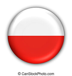 Poland Flag - World Flag Button Series - Europe -...
