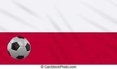 Poland flag waving and football rotates, loop