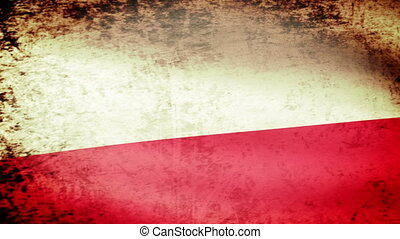 Poland Flag Waving, grunge look