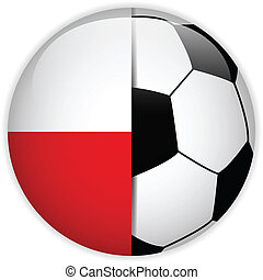 Poland Flag with Soccer Ball Background
