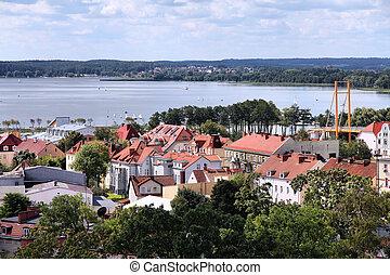 Gizycko, Poland - townscape with lake Niegocin. Lake region Masuria.