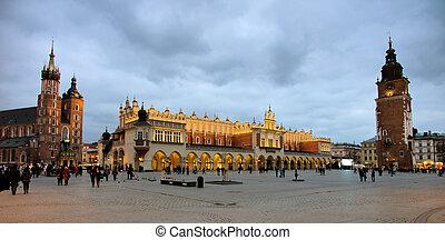 poland, krakow - the city of krakow in poland. marketplace...