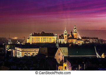 Poland, Krakow. Wawel Castle and Wistula . Krakow Poland. -...