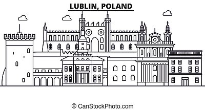 Poland, Lublin architecture line skyline illustration. Linear vector cityscape with famous landmarks, city sights, design icons. Editable strokes