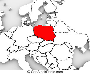 An abstract 3d map of Europe and the northern and eastern region with Poland highlighted in red and surrounding countries Germany and others