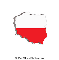 poland map and flag