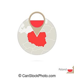 Poland map and flag in circle. Map of Poland, Poland flag...