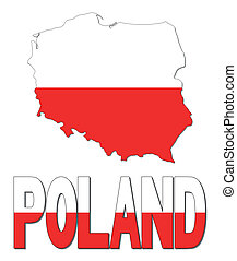 Poland map flag and text