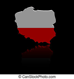 Poland map flag with reflection illustration