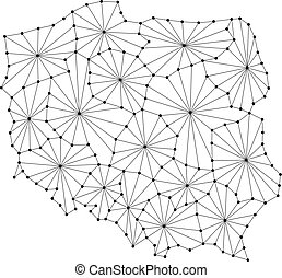 Poland map of polygonal mosaic lines network, rays and dots vector illustration.