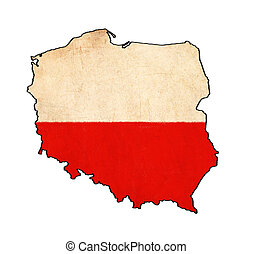 poland map on  flag drawing ,grunge and retro flag series