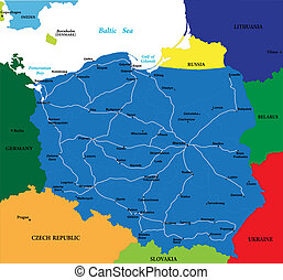 Poland map - Vector map of Poland with main regions, cities...