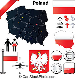 Poland map - Vector set of Poland country shape with flags,...