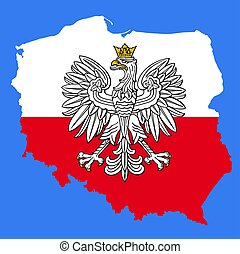 Poland map with eagle