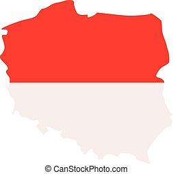 Poland map with flag
