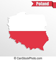Poland map with flag inside and ribbon