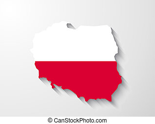 Poland map with shadow effect presentation