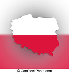 Poland map with the flag inside