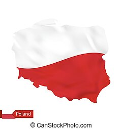 Poland map with waving flag of Poland.