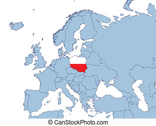 Poland on Europe map