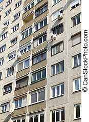 Poland - typical socialist block of flats in Warsaw, Poland.