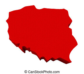 Poland Red 3d Europe Map Isolated